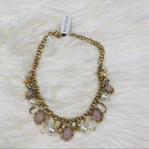 WHBM Pearl, Pink & Gold Charm Necklace